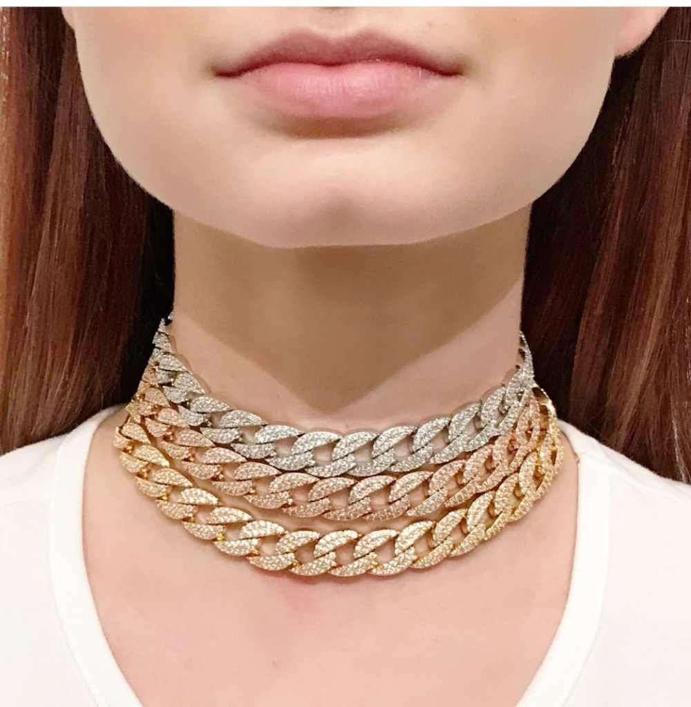 jankelly three color Statement Cuban Link Chain Choker Necklace adjust Women Wedding Bijoux Wholesale free shipping