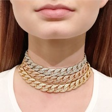 jankelly three color Statement Cuban Link Chain Choker Punk Hiphop Rock Necklace adjust Women Bijoux Wholesale free shipping|Chain Necklaces|   - AliExpress