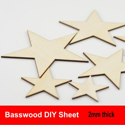 shaped Basswood Diy 2mm Thick Model Building Sheet Diy Model Accessories Basswood Sheet Diy Laser Cut Star Toys & Hobbies