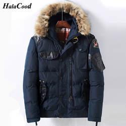 Новинка 2018 года Мужская Зимняя парка Мужская Толстая куртка с капюшоном и меховым воротником мужские пальто повседневная хлопковая