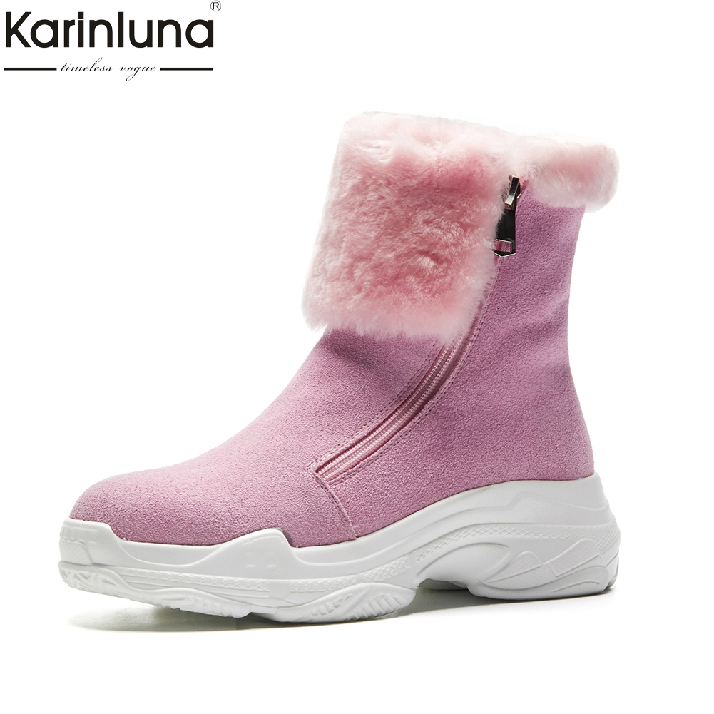 Karinluna 2018 wholesale Cow Suede Warm Fur Russia Winter Snow Boots Women Shoes Zippr Platform Ankle Boots Woman Sneakers Shoes karinluna 2018 plus size 30 50 pointed toe square heels add fur warm winter boots woman shoes woman ankle boots female