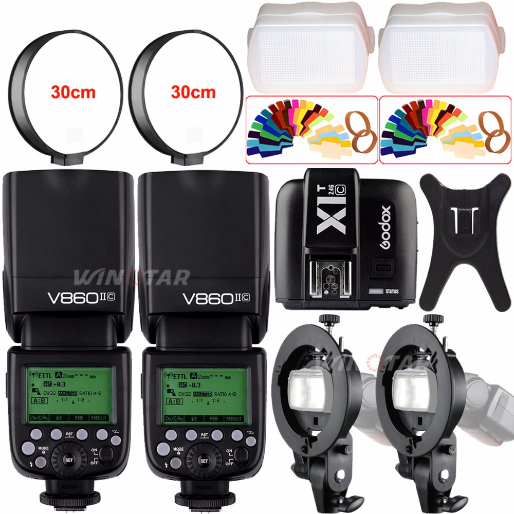 2pcs Godox V860II TTL Speedlite Flash GN60 HSS 1/8000s with Li-ion Battery+X1T-C/N/F/S for Canon Nikon Sony Fujifilm Olympus godox v860ii c v860iic speedlite gn60 hss 1 8000s ttl flash light x1t c wireless flash trigger transmitter for canon eos