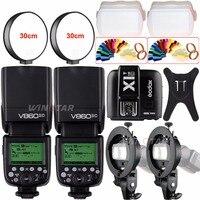 2pcs Godox V860II TTL Speedlite Flash GN60 HSS 1/8000s with Li ion Battery+X1T C/N/F/S for Canon Nikon Sony Fujifilm Olympus