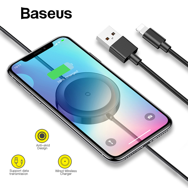 baseus 2 in 1 wireless charger 8 pin usb cable for iphone xs max x 8 rh aliexpress com