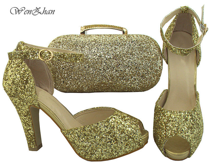 New Year Design Matching Italian Shoe and Bag Set Decorated With Bling Nigerian Wedding Shoes and Bag Set Gold Color B712-30