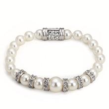 ZHOUYANG ZYH151 de Alta Calidad Chapado En Oro Pulsera de Perlas de Imitación de Oro Blanco Cristales Austriacos Wholesale