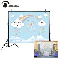 Allenjoy photographic background blue cartoon rainbow cute cloud baby birthday backdrop photocall professional photophone photo