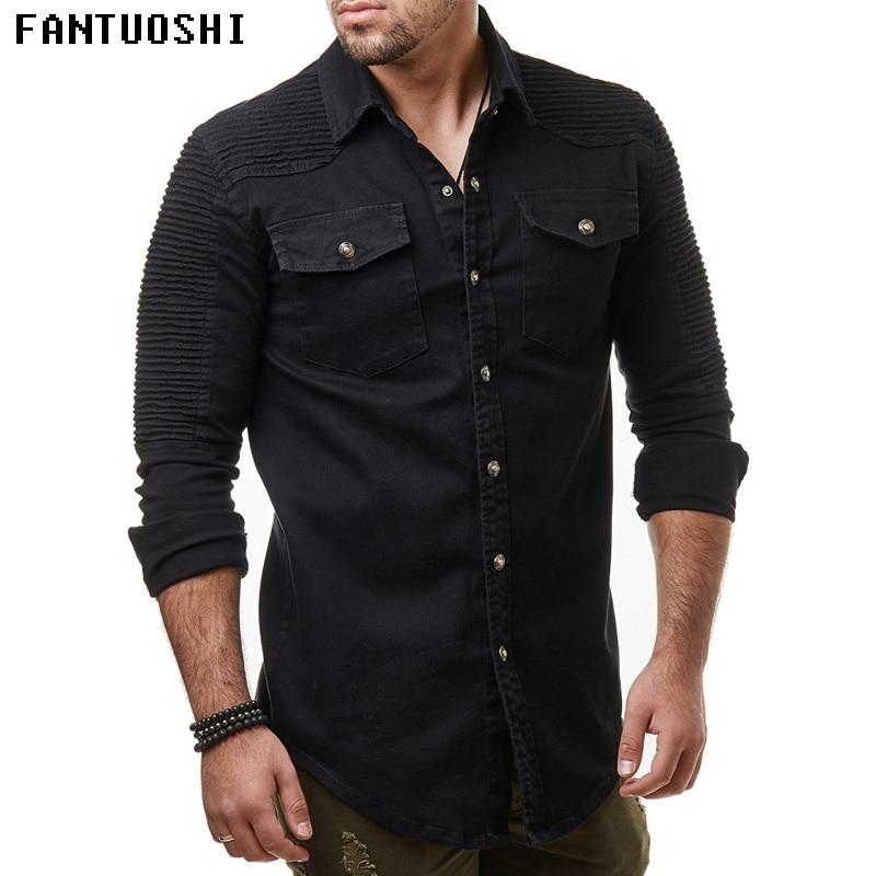 Spring autumn 2018 New Men Shirt Long Sleeve Male Shirt Cotton Solid color Fold Mens Shirts Casual Slim Fit Men coat black 3XL
