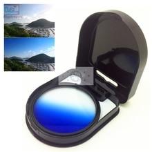 Degrade mavi renk Lens filtre Canon nikon kamera lensler kademeli mezun 37 40.5 46 49 52 55 58 62 67 72 77 mm 58mm 52mm