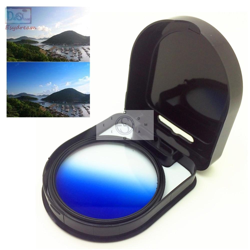 Градиентный Синий Цветной фильтр для объективов камер Canon Nikon градиентный 37 40,5 46 49 52 55 58 62 67 72 77 мм 58 мм 52 мм