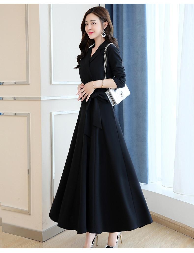 Spring and Autumn 2019 New Women's Dresses Korean Edition Long Sleeve Dresses Overlap Long Popular Temperament with Bottom 135