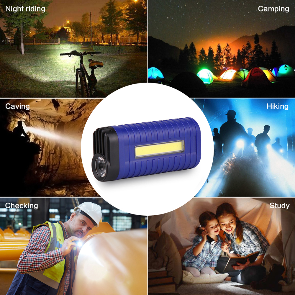Купить с кэшбэком Rechargeable LED Flashlight COB Work light Waterproof ABS material Used for camping, picnics, night reading, maintenance work