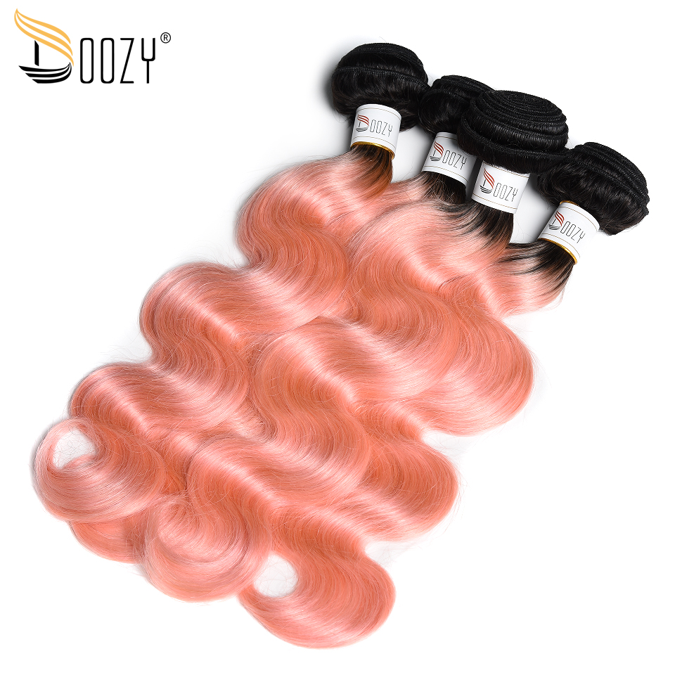 Doozy Ombre 1b/Pink Brazilian Hair 4 Pieces Body Wave Hair Extensions Remy Rose Gold Human Hair Bundles