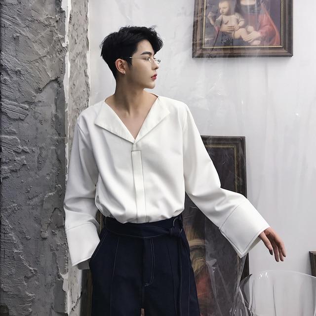 2018 New Fashion Men Shirt V,Neck Long Sleeve Casual Shirt Male Solid Wide  Cuff Vintage Style Black White Mens Shirts M,XXL
