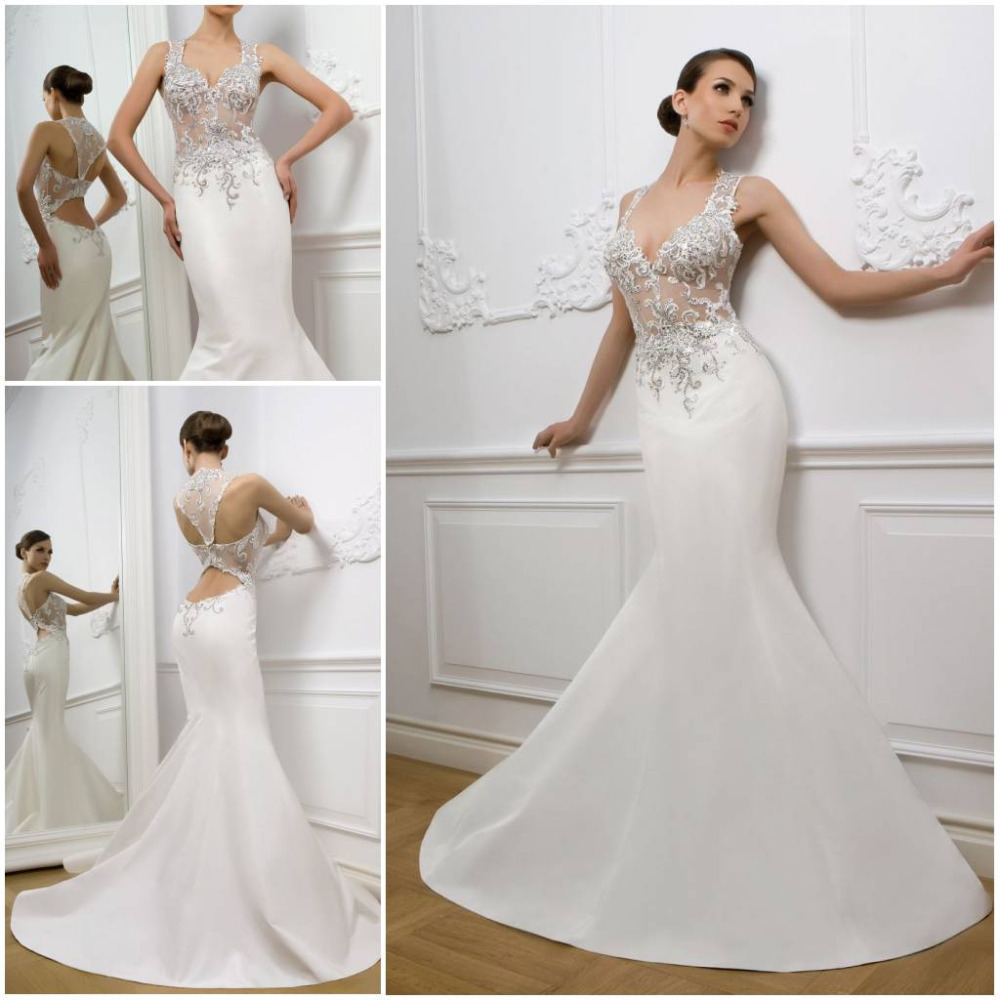 Mermaid Lace Wedding Gown: 2013 Sexy Mermaid Lace See Through Top Deep V White Ivory