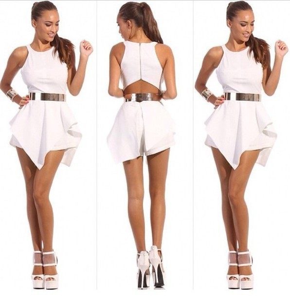 f45b190c7415 Free SHIPPING 2014 fashion Back zip falbala jumpsuits-in Rompers ...