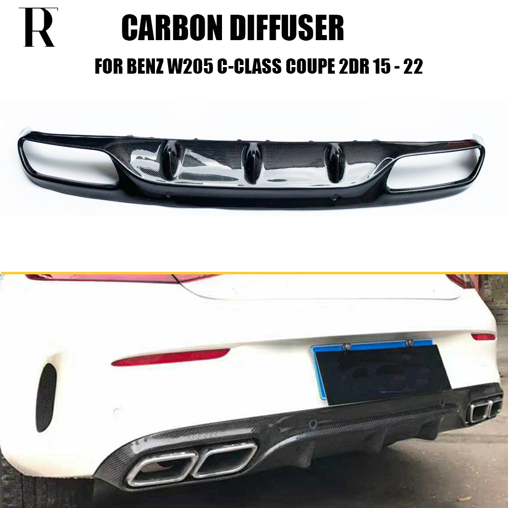 C205 Carbon Fiber Rear Bumper Lip Spoiler Diffuser for Benz W205 Coupe 2 DOOR C200 C220 C350 C43 With AMG Package 15 22