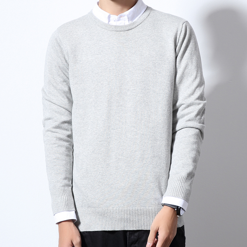 Autumn Winter Christmas Sweater Men Pullover Fashion Mens Jumper Plus Size Mens Sweaters 100% Cotton Crewneck Solid Color M-6XL