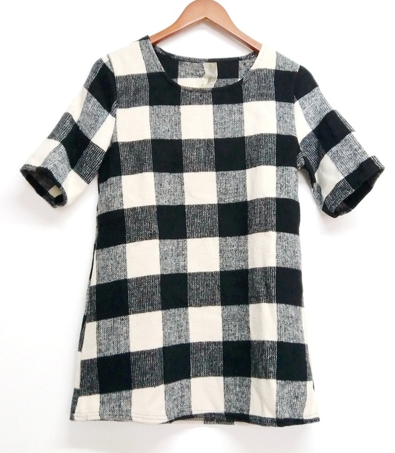 Women Casual classic O-Neck Black white grid Mature women career work Wool Short sleeved Mini Dress