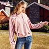 Artka Spring New Women S Short Hooded Pacthwork Pink Hoodie VA10081C