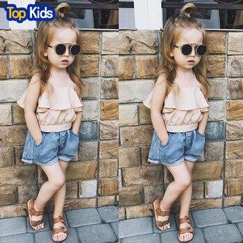 Girls Clothes Set Summer Ruffle Vest+Jeans Shorts 2Pcs Suit For Girl Fashion Child Fashion Sets Kids MB487 1