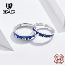 BISAER 925 Sterling Silver Blue Enamel Rings Set For Women Men Anniversary Wedding Couple Rings Engagement Jewelry ZHS129(China)