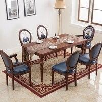 Европейский стильный обеденный стул американский стиль твердой древесины Ретро назад кафе со стульями ткань обеденный стул