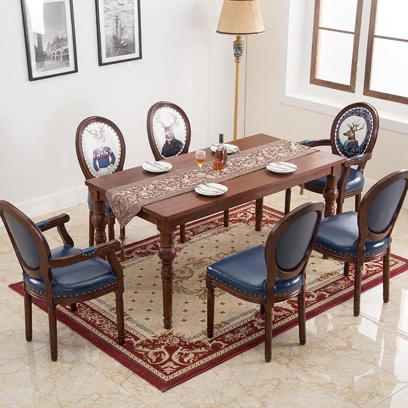Style européen à manger chaise style américain en bois massif rétro chaise arrière café tissu à manger chaise