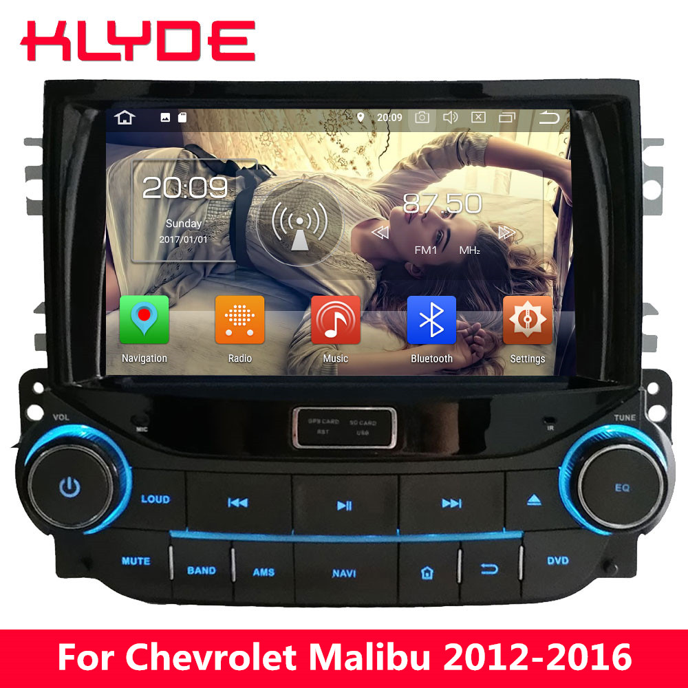 KLYDE 4G WIFI Android 8.0 7.1 Octa Core 4 GB RAM 32 GB ROM BT voiture lecteur DVD Radio GPS Navigation pour Chevrolet Malibu 2012-2016