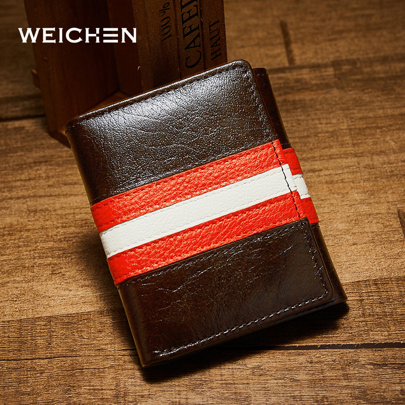 WEICHEN top quality cow genuine leather men wallets luxury dollar price short style male purse carteira masculina original brand baellerry small mens wallets vintage dull polish short dollar price male cards purse mini leather men wallet carteira masculina