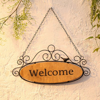 Oval Shape Welcome Sign Scroll Work Design Victorian Style Wall Art Decor