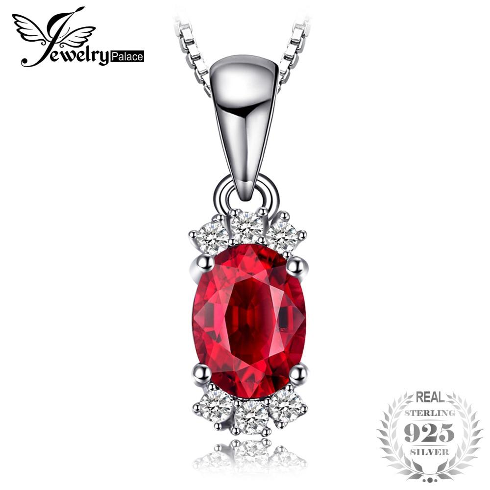 Jewelrypalace 1.2ct oval natural granate colgantes para las mujeres 925 de plata esterlina de moda de piedras preciosas joyas finas no incluyen una cadena
