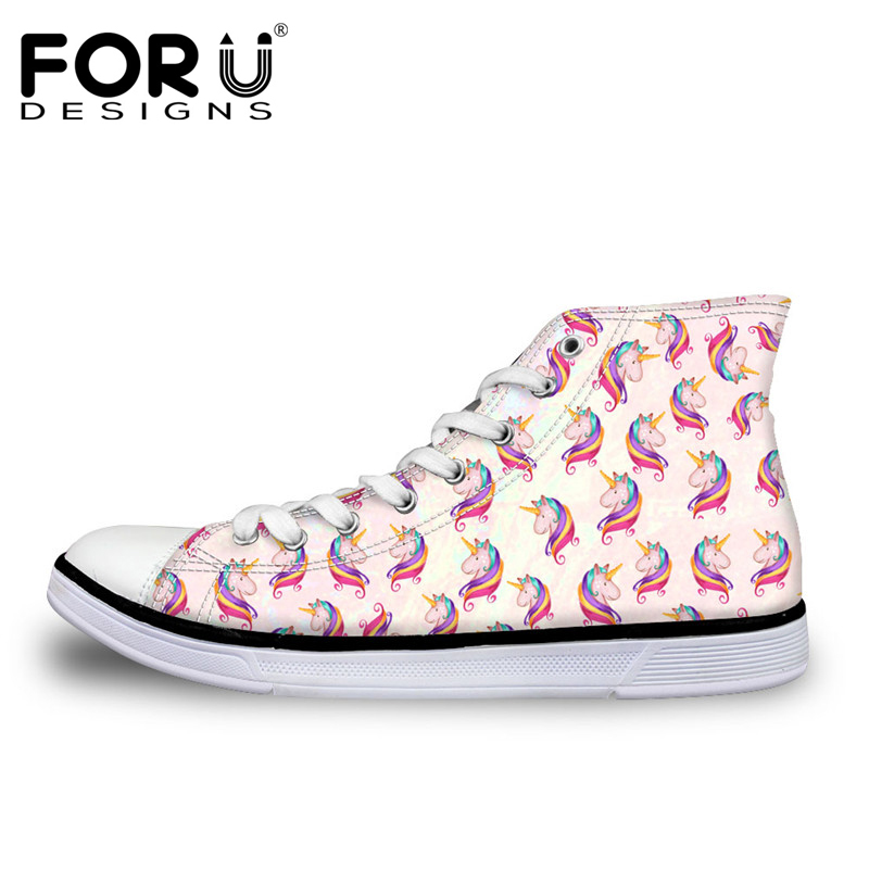 FORUDESIGNS Venta caliente 3D Horse Design Mujer Vulcanize Shoes Classic High Top Shoes for Ladies Flats zapatos de lona ocasionales femeninos