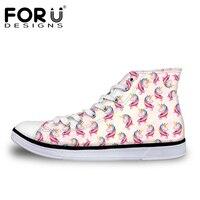 FORUDESIGNS Hot Sale 3D Unicorn Design Women Vulcanize Shoes Classic High Top Shoes For Ladies Flats
