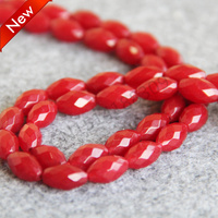 For Necklace Bracelet 6 11mm Red Ruby Beads Jasper Jade Rice Faceted Gifts Loose DIY 15inch