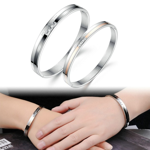 Gh748 His And Her Matching Set Stainless Steel Bracelet Promise Engagement Gift Mens Womens Bangles