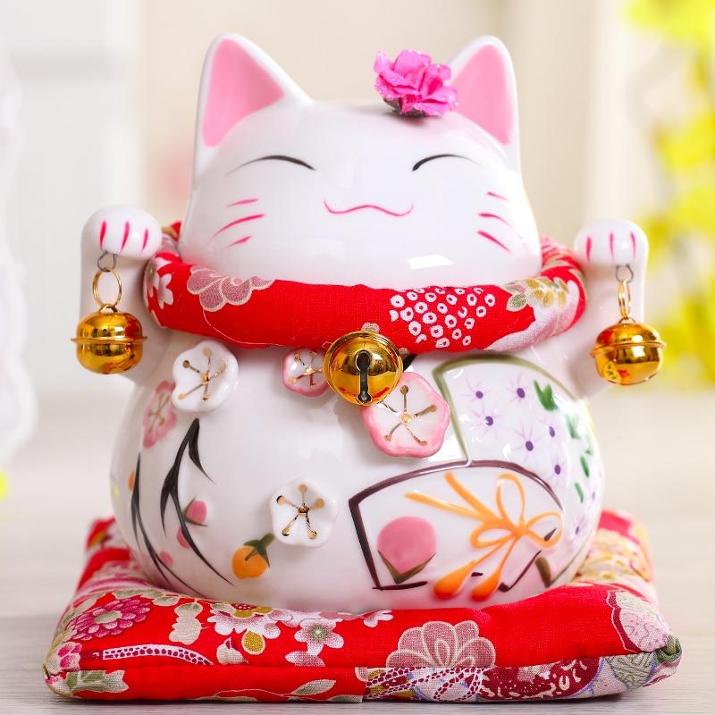 6 Inch Maneki-Neko Ceramic Chinese Lucky Cat Beckoning Fortune Cat Figurines Lucky Charm Money Box Home Decoration Ornaments