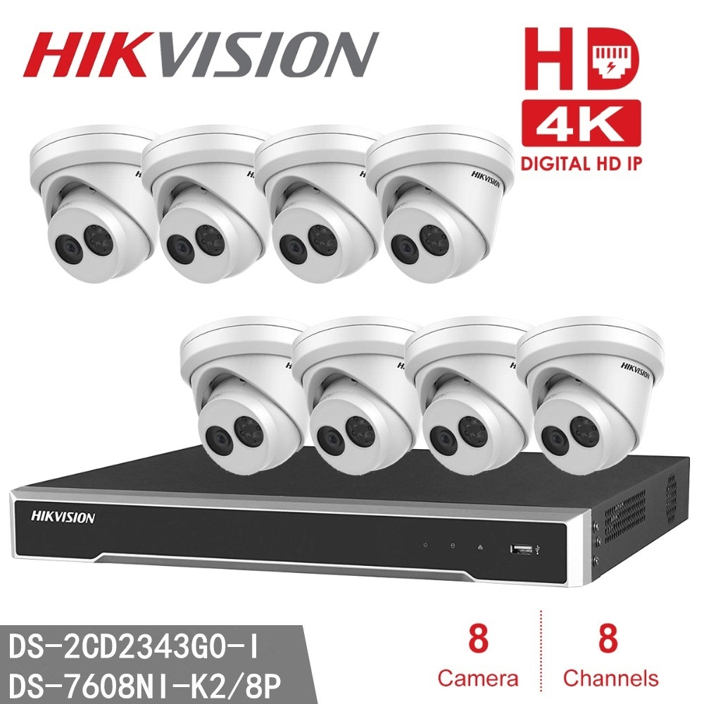 Hikvision NVR DS-7608NI-K2/8 P Casa de Segurança CCTV + 8 pcs DS-2CD2343G0-I 4MP WDR Hikvision EXIR Turret Camera (DS-2CD2342WD-I)