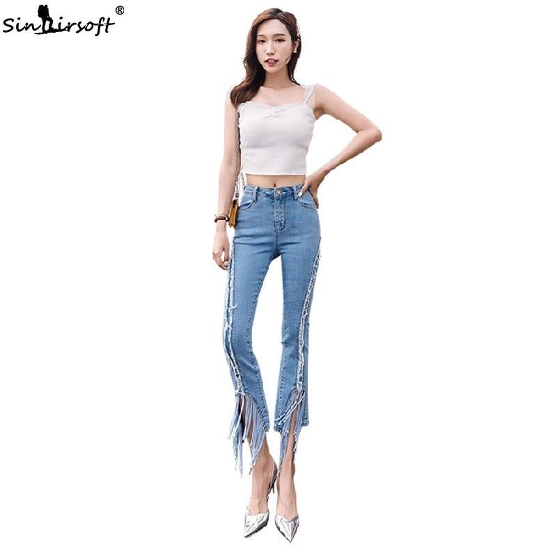 Fashion  Jean Flare Pants Women High Waist Tassel Burr Denim Ankle-Length Female Casual Slim Light Blue Trousers Summer