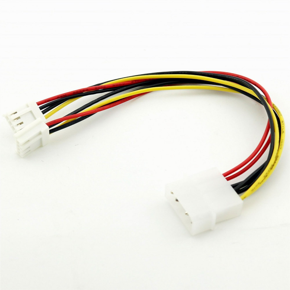 "4 Pin Molex To 2x 3.5/"" Floppy Drive FDD Internal Power Splitter Cable Adaptor"