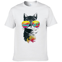 2017 Men's Fashion Summer Fun Holiday cats T Shirt Casual Male Tops Hipster Printed Tees K5