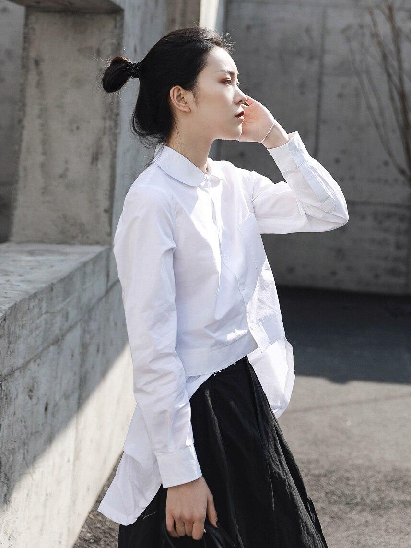 Cakucool 2019 wiosna i lato nowa japońska projektant z przodu krótki długi lalki kołnierz osobowości biała koszula z długim rękawem w Bluzki i koszule od Odzież damska na AliExpress - 11.11_Double 11Singles' Day 1