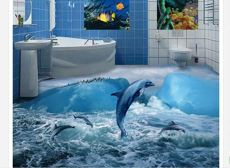 3d Pvc Floor Wallpaper Custom Mural Floor Painting Glacier