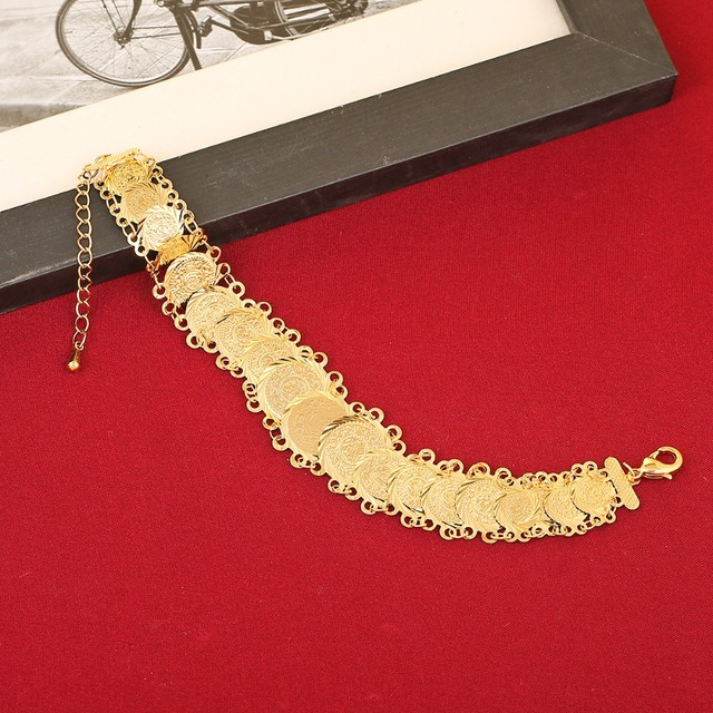 New Bridal Bracelet For Wedding Coin Jewelry Bracelet Gold Color