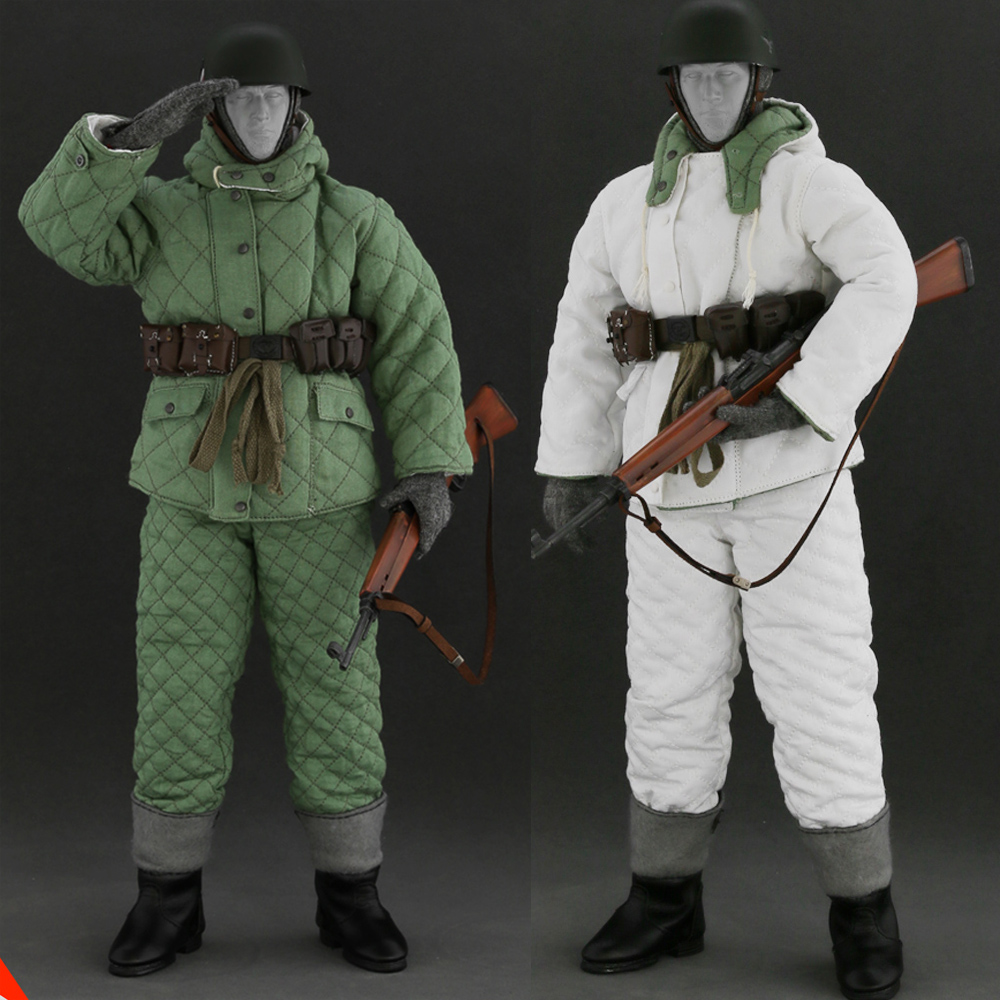 1/6 WWII Winter Soviet Soldier Clothing Suit & Weapon Accessory Uniform Set AL10007 for 12 inches Male Action Figure world war ii german wwii wehrmacht officer 1 6 soldier set model stanford erich vo gm637 for gift collection