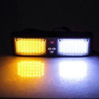 CYAN SOIL BAY Beacon Flashing LightBar Emergency Harzard Visor Strobe light 86 LED Amber&White