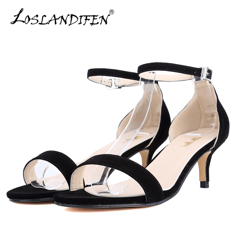 LOSLANDIFEN Casual Thin Heels Women Sandals New Summer Flock Open Toe Ankle Strap Ladies Shoes Med High Heels Wedding Party Shoe wholesale lttl new spring summer high heels shoes stiletto heel flock pointed toe sandals fashion ankle straps women party shoes