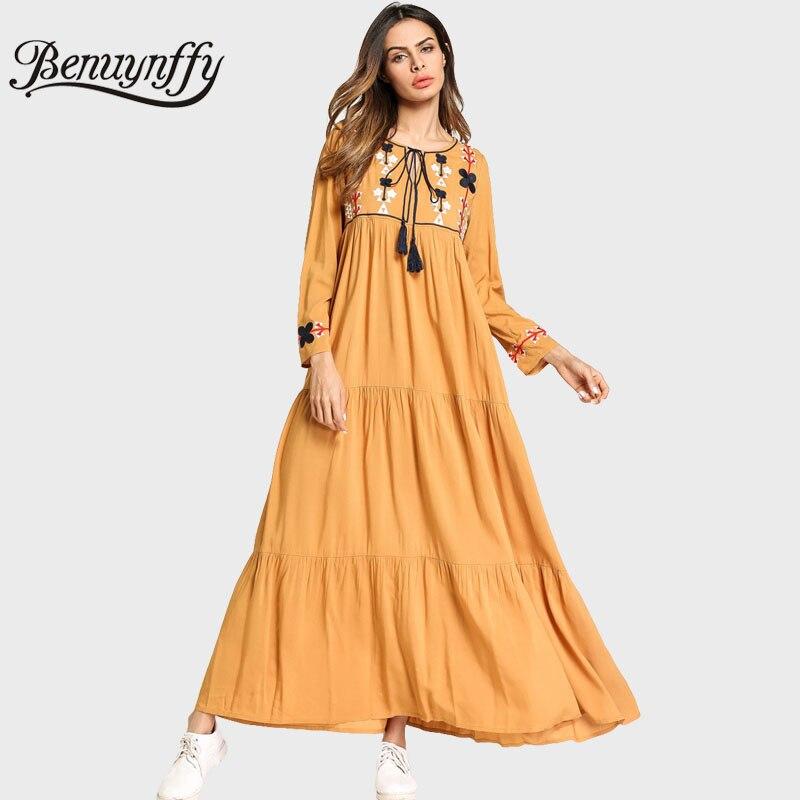 Primavera Casual Vintage Benuynffy Damas 2018 Larga Mujer Amarillo Manga  Vestidos Vestido Bordado Otoño Maxi Largo Q171 Lazo 4TY8q4P 31d351e1230a
