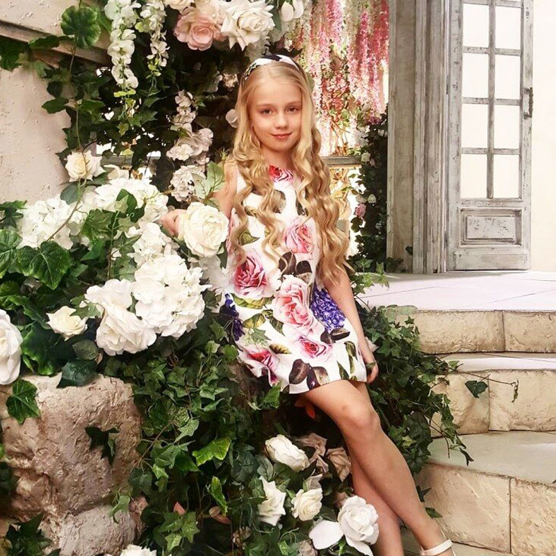 Girls Dress Robe Fille 2018 Designer Baby Girl Summer Clothes Sleeveless Girls Summer Floral Dress Princess Dress Kids Clothes summer vintage lace dress sleeveless design sweet baby girl floral princess dress wedding christening gown dress girls clothes