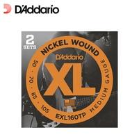 D'addario 트윈 팩 라운드 상처 니켈 도금 스틸 랩 기타 문자열, 긴 규모, EXL160tp EXL170tp, 2